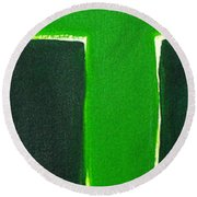 Green Cross On Hill Round Beach Towel