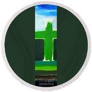 Green Cross On Hill Round Beach Towel