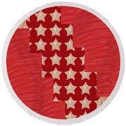 Cross Through Sparkle Stars On Red Silken Base Round Beach Towel