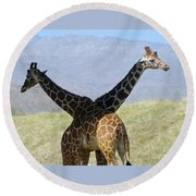 Crossed Giraffes Round Beach Towel