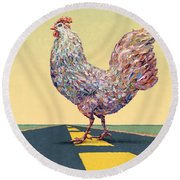 Crossing Chicken Round Beach Towel by James W Johnson