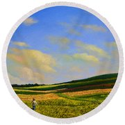 Crossing The Field Round Beach Towel