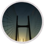 Round Beach Towel featuring the photograph Crossing The Severn Bridge At Sunset - Cardiff - Wales by Vicki Spindler