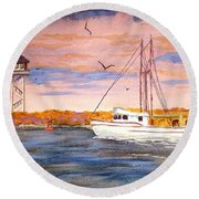 Crossing The Tillamook Bay Bar Round Beach Towel