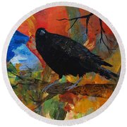 Crow On A Branch Round Beach Towel