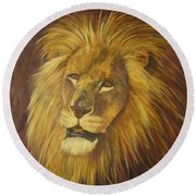 Crown Of Courage,lion Round Beach Towel