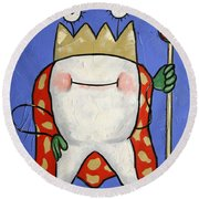 Round Beach Towel featuring the painting Crowned Tooth by Anthony Falbo