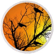 Crows At Sunset Round Beach Towel