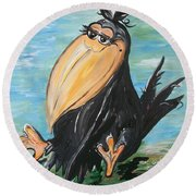 Round Beach Towel featuring the painting Just Crow's Feet ... Not Wrinkles by Eloise Schneider