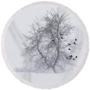 Crows On Tree In Winter Snow Storm Round Beach Towel