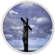 Crucifix In The Light Round Beach Towel