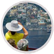Cruising The Amalfi Coast Round Beach Towel