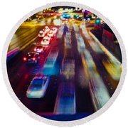 Round Beach Towel featuring the photograph Cruising The Strip by Alex Lapidus