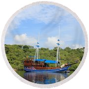 Round Beach Towel featuring the photograph Cruising Yacht by Sergey Lukashin