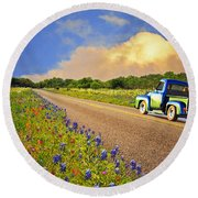 Crusin' The Hill Country In Spring Round Beach Towel