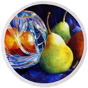 Crystal And Pears Round Beach Towel