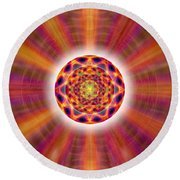 Round Beach Towel featuring the drawing Crystal Ball Of Light by Derek Gedney