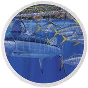 Crystal Blue Off00100 Round Beach Towel by Carey Chen