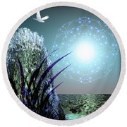 Round Beach Towel featuring the digital art Crystal Breathing Rock by Rosa Cobos