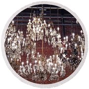 Crystal Chandeliers Round Beach Towel