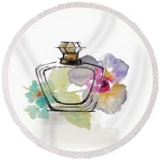 Crystal Watercolor Perfume I Round Beach Towel