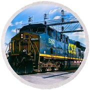 Csx 5292 Warner Street Crossing Round Beach Towel