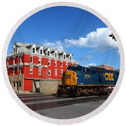 Csx Diesel Train At Cumberland Round Beach Towel