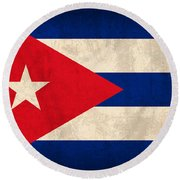 Cuba Flag Vintage Distressed Finish Round Beach Towel