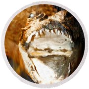 Round Beach Towel featuring the digital art Cuban Crocodile by Daniel Janda