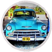 Cuban Taxi			 Round Beach Towel by Pennie  McCracken