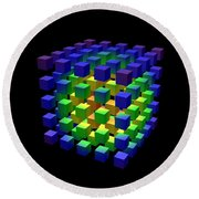Round Beach Towel featuring the digital art Cube Of Cubes... by Tim Fillingim