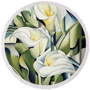 Cubist Lilies Round Beach Towel