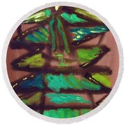 Round Beach Towel featuring the painting Cubist Tree by Mary Carol Williams