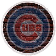 Cubs Baseball Graffiti On Brick  Round Beach Towel