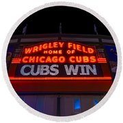Cubs Win Round Beach Towel by Steve Gadomski