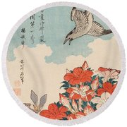 Cuckoo And Azaleas Round Beach Towel