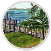 Cudjoe Dock Round Beach Towel