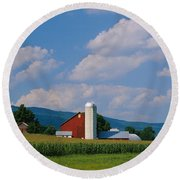 Cultivated Field In Front Of A Barn Round Beach Towel