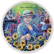 Cultivating The Arts Round Beach Towel