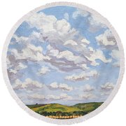 Round Beach Towel featuring the painting Cumulus Clouds Over Flint Hills by Erin Fickert-Rowland