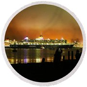 Round Beach Towel featuring the photograph Cunard's 3 Queens by Terri Waters