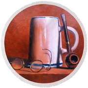 Cup Pipe And Glasses Round Beach Towel