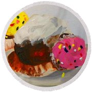 Round Beach Towel featuring the painting Cupcakes by Marisela Mungia
