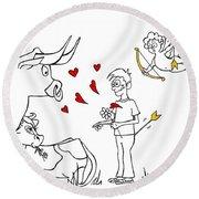 Cupid Valentines Round Beach Towel