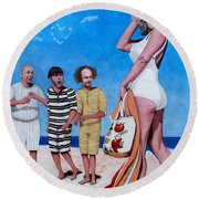 Round Beach Towel featuring the painting Cupid's Arrow by Tom Roderick
