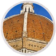 Cupola On Florence Duomo Round Beach Towel by Liz Leyden