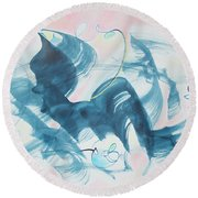 Curiosity Finds The Cat Round Beach Towel by Asha Carolyn Young