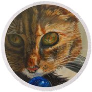 Round Beach Towel featuring the painting Curious by Karen Ilari
