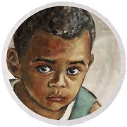 Curious Little Boy Round Beach Towel