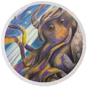 Curious Octopus  Round Beach Towel by Laurianna Taylor